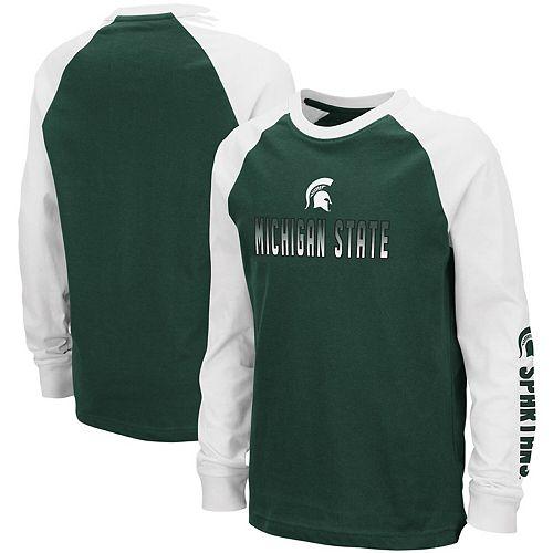Youth Colosseum Green Michigan State Spartans Beanie Raglan Long Sleeve T-Shirt