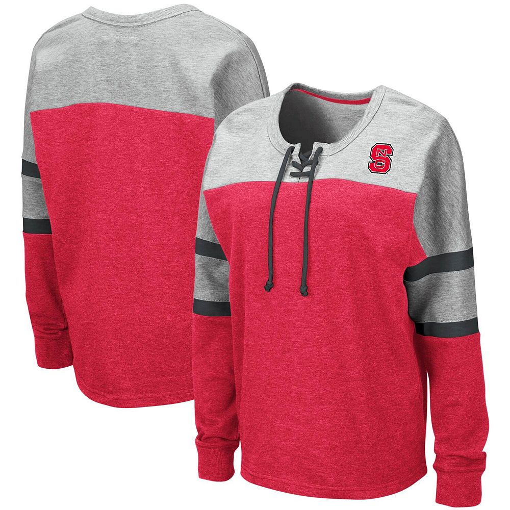Women's Colosseum Red NC State Wolfpack Manolo Lace-Up French Terry Pullover Sweatshirt