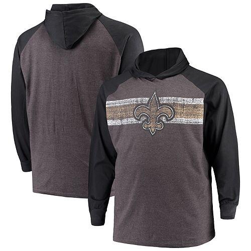 Men's Heathered Charcoal/Black New Orleans Saints Big & Tall Raglan Hooded Long Sleeve T-Shirt
