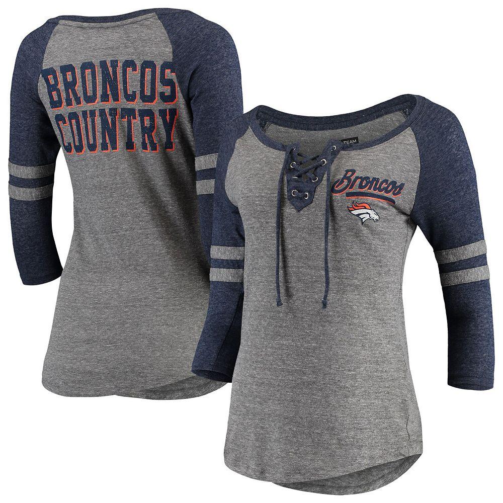 Women's New Era Heathered Gray/Heathered Navy Denver Broncos Lace-Up Tri-Blend Raglan 3/4-Sleeve T-Shirt
