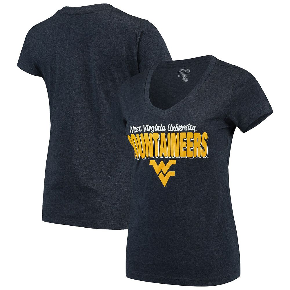 Women's Colosseum Navy West Virginia Mountaineers Mascot Bold V-Neck T-Shirt