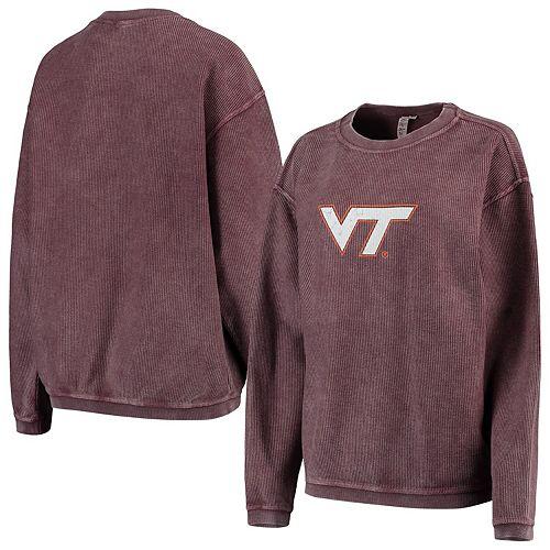 Women's chicka-d Maroon Virginia Tech Hokies Corded Corduroy Crewneck Pullover Sweatshirt
