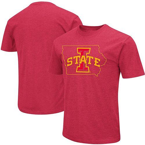 Men's Colosseum Cardinal Iowa State Cyclones Outline T-Shirt