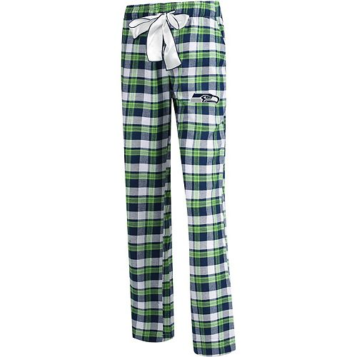 Women's Concepts Sport College Navy/Neon Green Seattle Seahawks Plus Size Piedmont Flannel Sleep Pants