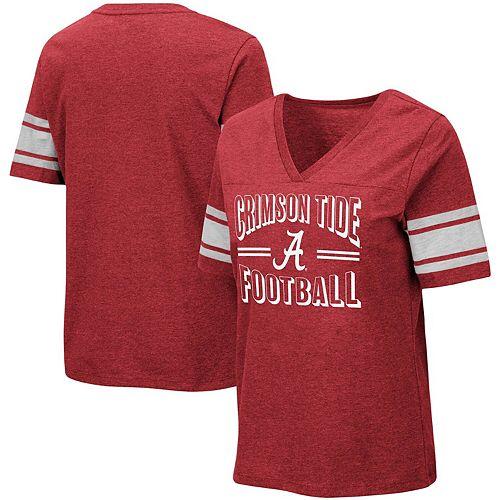 Women's Colosseum Heathered Crimson Alabama Crimson Tide Blue Blood Football V-Neck T-Shirt