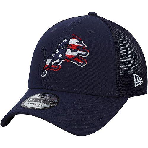 Men's New Era Navy Detroit Lions Flag Fill 9FORTY Adjustable Hat