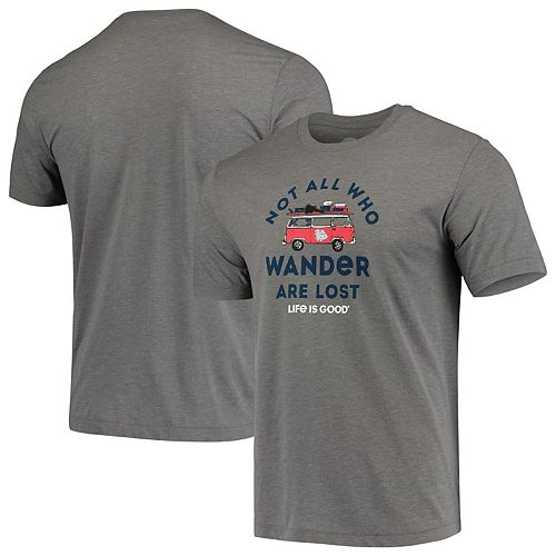 Men's Life is Good Heathered Gray Gonzaga Bulldogs Wander Cool T-Shirt