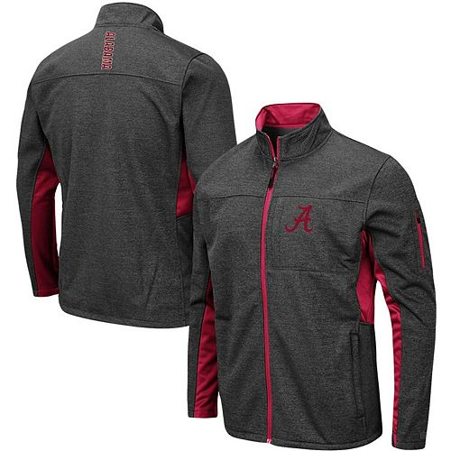 Men's Colosseum Heathered Charcoal Alabama Crimson Tide Big & Tall Bumblebee Full-Zip Jacket
