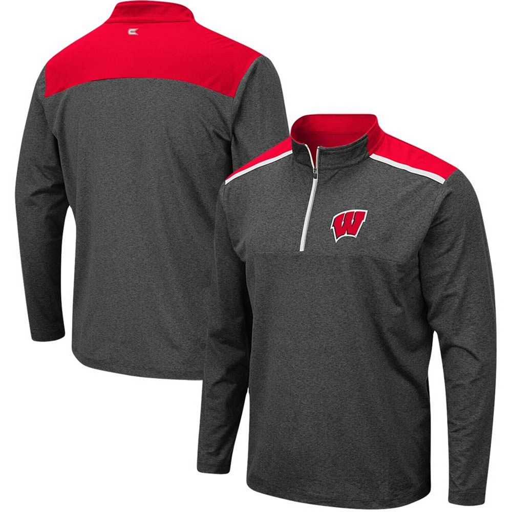 Men's Colosseum Heathered Charcoal Wisconsin Badgers Big & Tall Snowball Quarter-Zip Pullover Jacket