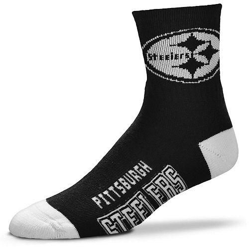 Men's For Bare Feet Pittsburgh Steelers Deuce Quarter-Length Socks