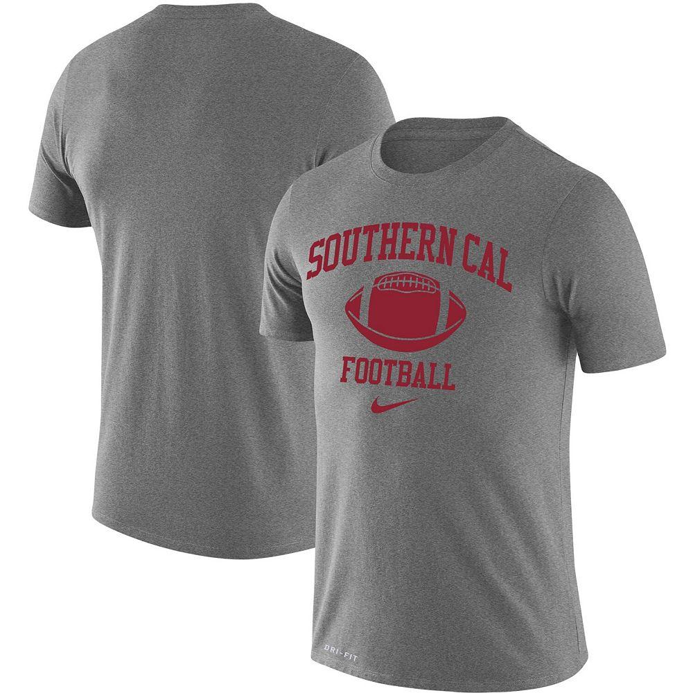 Men's Nike Heathered Gray USC Trojans Retro Football Lockup Legend Performance T-Shirt