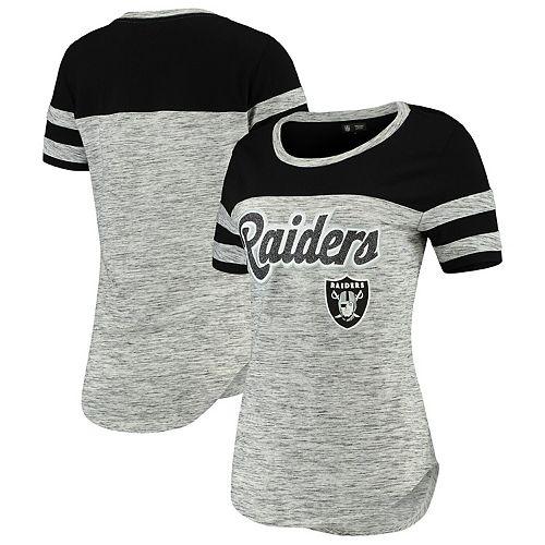 Women's New Era Black Oakland Raiders Glitter Gel T-Shirt