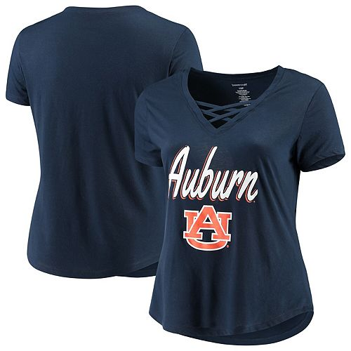 Women's Navy Auburn Tigers Plus Size Caged Front T-Shirt