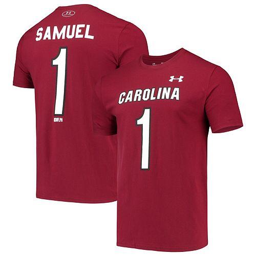Men's Under Armour Deebo Samuel Garnet South Carolina Gamecocks Alumni Name & Number Performance T-Shirt