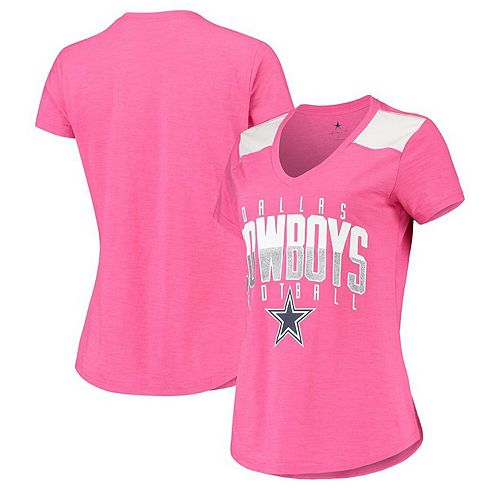 Women's Pink Dallas Cowboys Summers V-Neck T-Shirt