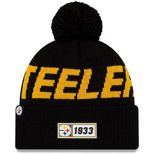 Youth New Era Black Pittsburgh Steelers 2019 NFL Sideline Road Sport Knit Hat