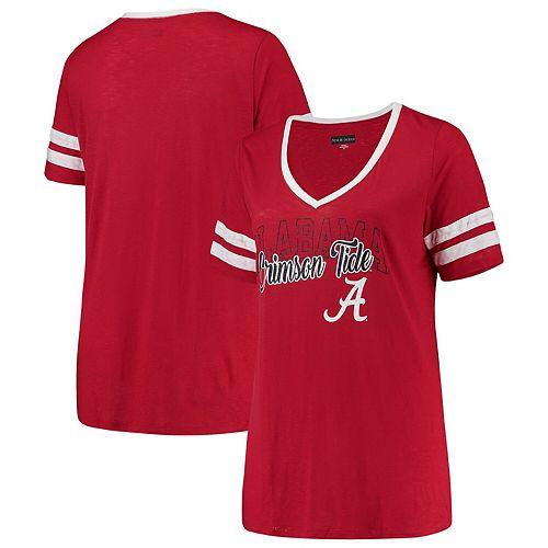 Women's 5th & Ocean by New Era Crimson Alabama Crimson Tide Plus Size Sleeve Stripe V-Neck T-Shirt
