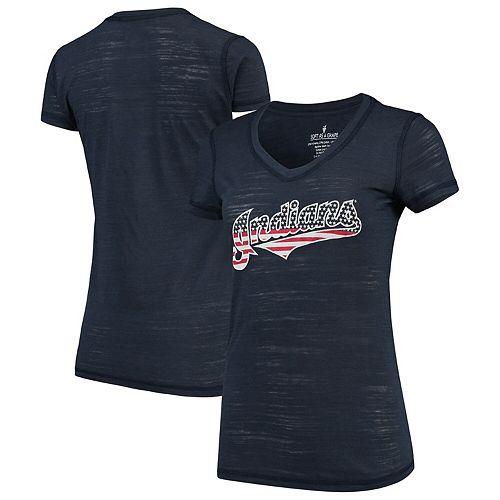Women's Soft as a Grape Navy Cleveland Indians Stars & Stripes Americana V-Neck T-Shirt