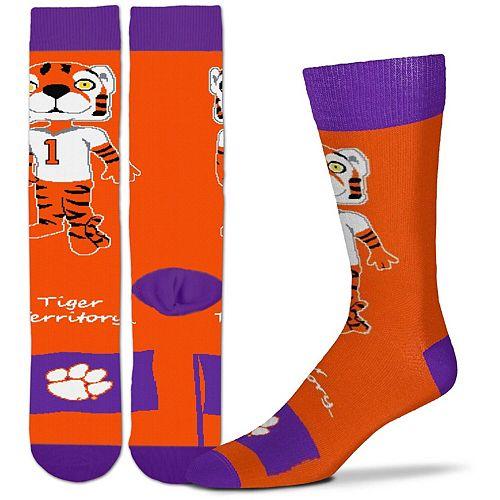 Youth For Bare Feet Clemson Tigers Mascot Flag Crew Socks