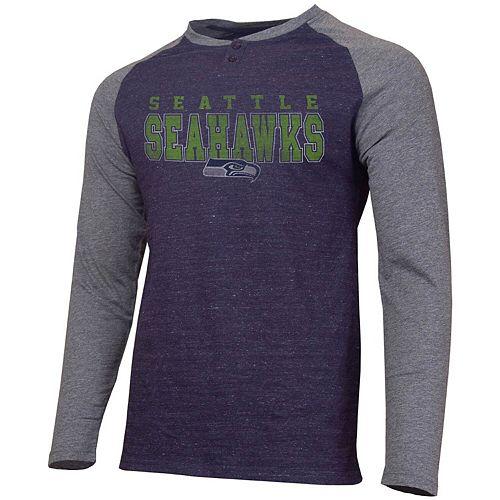 Men's Concepts Sport Heathered College Navy/Heathered Charcoal Seattle Seahawks Hillstone Henley Raglan Long Sleeve T-Shirt