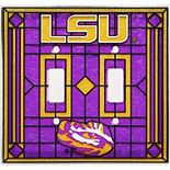 LSU Tigers Art-Glass Double Switch Plate Cover