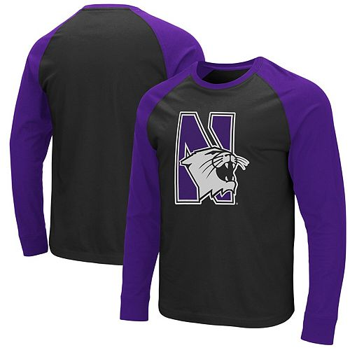Men's Colosseum Black/Purple Northwestern Wildcats Long Sleeve T-Shirt