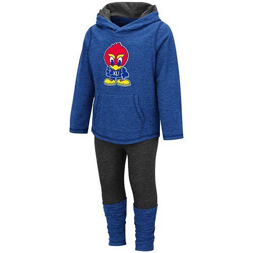 Girls Toddler Colosseum Royal Kansas Jayhawks Minerva Hooded Long Sleeve T-Shirt and Leggings Set