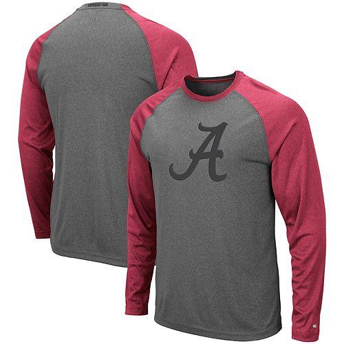 Men's Colosseum Heathered Charcoal Alabama Crimson Tide Rad Tad Raglan Long Sleeve T-Shirt