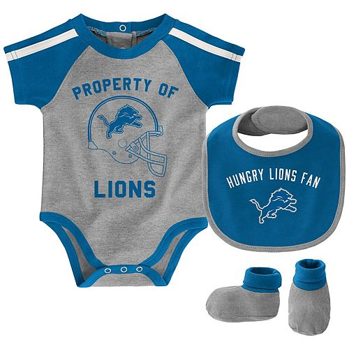 Newborn & Infant Heathered Gray/Blue Detroit Lions Tackle Bodysuit, Bib & Booties Set