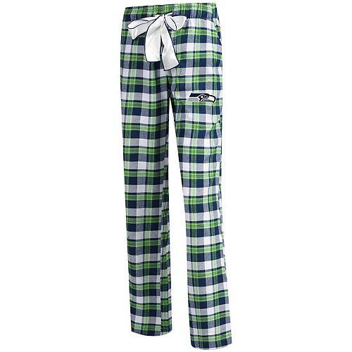 Women's Concepts Sport College Navy/Neon Green Seattle Seahawks Piedmont Flannel Sleep Pants