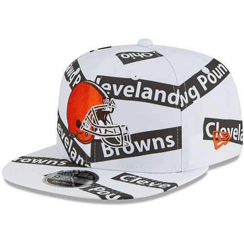 Men's New Era White Cleveland Browns Team Taped 9FIFTY Adjustable Snapback Hat