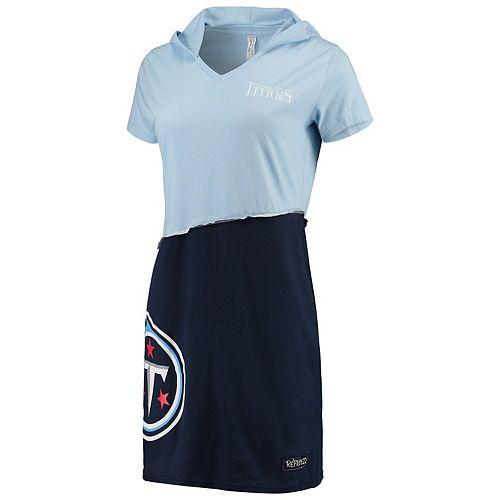 Women's Refried Tees Light Blue/Navy Tennessee Titans Hooded V-Neck Mini Dress