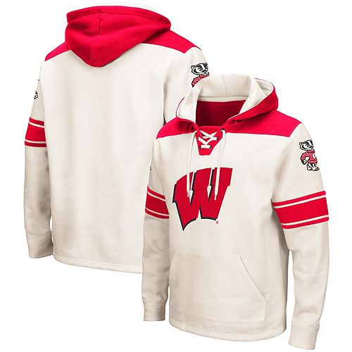 Men's Colosseum Cream Wisconsin Badgers 2.0 Lace-Up Pullover Hoodie