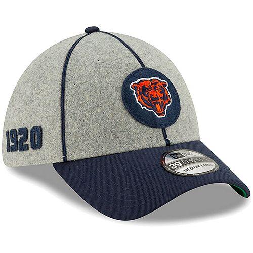 Men's New Era Heather Gray/Navy Chicago Bears 2019 NFL Sideline Home Official Historic Logo 39THIRTY 1920s Flex Hat