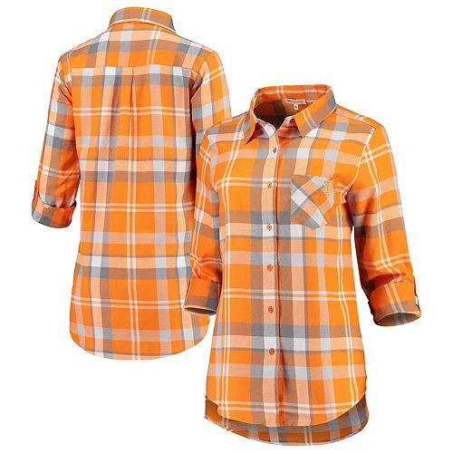 Women's Tennessee Orange Tennessee Volunteers Missy Boyfriend Plaid Flannel Button-Up Long Sleeve Shirt