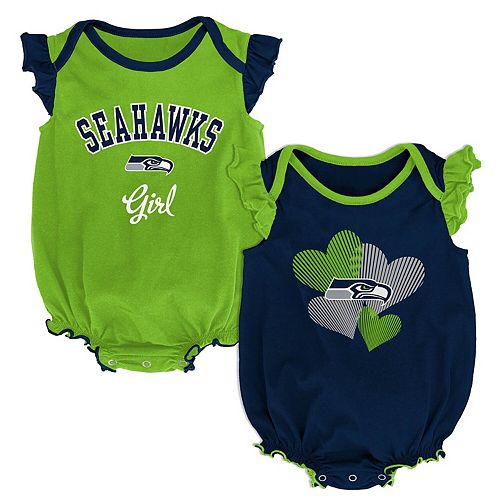 Girls Infant College Navy/Neon Green Seattle Seahawks Homecoming Celebration 2-Piece Bodysuit Set