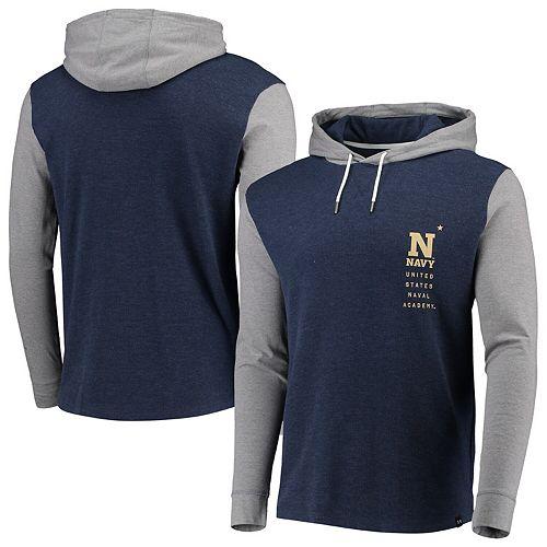 Men's Under Armour Navy/Heathered Gray Navy Midshipmen Waffle Pullover Hoodie
