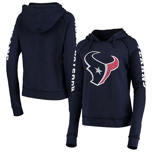 Women's New Era Navy Houston Texans Touchdown Fleece Pullover Raglan Hoodie