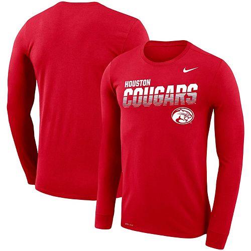 Men's Nike Red Houston Cougars Sideline Legend Performance Long Sleeve T-Shirt