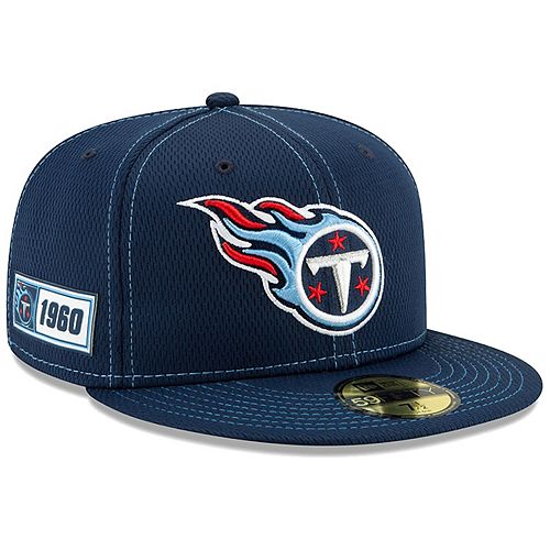 Men's New Era Navy Tennessee Titans 2019 NFL Sideline Road Official 59FIFTY Fitted Hat