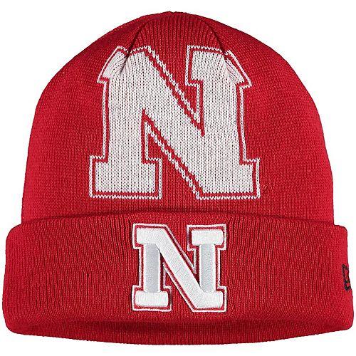 Youth New Era Scarlet Nebraska Cornhuskers Logo Whiz Cuffed Knit Hat