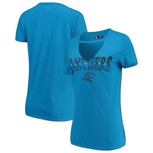 Women's New Era Blue Carolina Panthers Baby Jersey V-Neck Choker T-Shirt