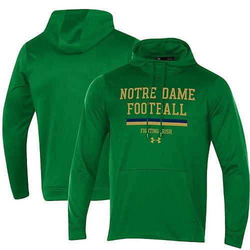 Men's Under Armour Kelly Green Notre Dame Fighting Irish Sideline Fleece Pullover Hoodie