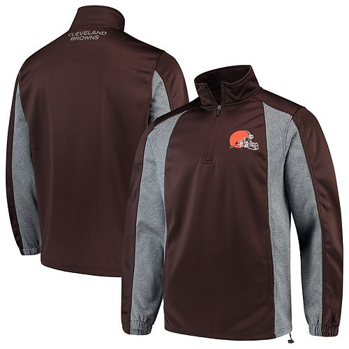 Cleveland Browns G-III Sports by Carl Banks End Zone Quarter-Zip Pullover Jacket - Brown
