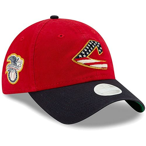 Women's New Era Red Cleveland Indians 2019 Stars & Stripes 4th of July 9TWENTY Adjustable Hat