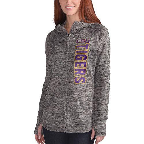Women's G-III 4Her by Carl Banks Gray LSU Tigers Defender Space Dye Full-Zip Hoodie