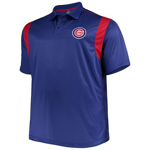 Men's Majestic Royal/Red Chicago Cubs Big & Tall Two Color Birdseye Polo