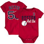 Newborn & Infant Majestic Mookie Betts Red Boston Red Sox Baby Slugger Name & Number Bodysuit
