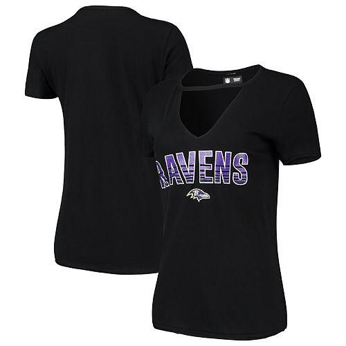 Women's New Era Black Baltimore Ravens Gradient Glitter Choker V-Neck T-Shirt
