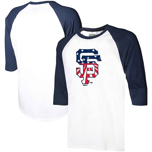 Men's Stitches White/Navy San Francisco Giants Stars & Stripes Americana Raglan 3/4-Sleeve T-Shirt